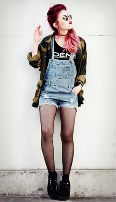 90's grunge: graphic tee overalls camo tights wedges