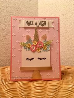 ideas baby girl cards to make punch art Unicorn Birthday Cards, Girl Birthday Cards, Baby Girl Cards, Handmade Birthday Cards, Unicorn Cards, Punch Art Cards, Christmas Greeting Cards, Kids Cards, Homemade Cards