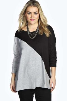 Isabella Diagonal Panel Batwing Sleeve Top at boohoo.com  $24.00