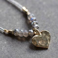Mystic Labradorite Heart Necklace
