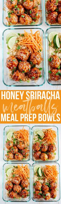 These Honey Sriracha Glazed Meatballs are sweet, spicy and full of so much flavor! They also take less than 30 minutes to make and are perfect for weekly meal prep! snacks meal prep Honey Sriracha Glazed Meatballs - Eat Yourself Skinny Lunch Meal Prep, Meal Prep Bowls, Healthy Meal Prep, Weekly Meal Prep, Healthy Foods, Healthy Eating, Diabetic Foods, Healthy Fit, Lunch Menu