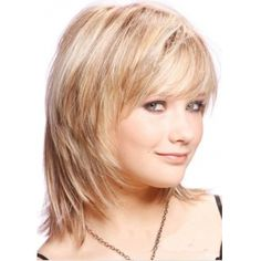 100% Real Human Hair Medium Layered Straight Hair Wig About 12 Inches