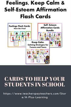 This Mega Bundle includes 6 of our resources. It includes:* 27 Feelings Flash Cards: How Do I Feel* 50 Keep Calm: Calming Strategies for Tweens and Teens* 75 Self-Esteem Affirmation Cards School Resources, Classroom Resources, Classroom Organization, Classroom Management, Self Esteem Affirmations, Different Feelings, Affirmation Cards, All Schools, Feelings And Emotions