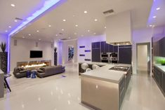 Modern living room with ceiling and LED lighting. #Lighting #Pendantlights #LEDLights http://www.shelights.com.au