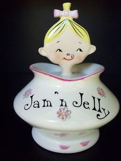 VTG HOLT HOWARD JOLLY GIRL PIXIEWARE JAM JELLY JAR DISH