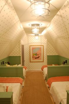 Not really in love with the decor of this room, but an option for adding more living space to our little house–kid beds in attic.