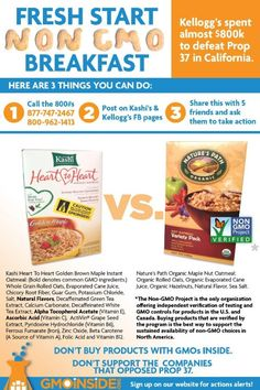 """Here is a healthy alternative for the """"Fresh Start Non-GMO campaign."""" Enjoy Nature's Path Organic Foods instead of Kellogg's or General Mills."""
