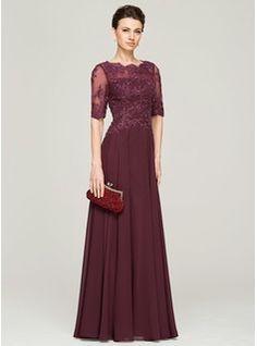 Vestidos princesa/ Formato A Decote redondo Longos De chiffon Renda Vestido para a mãe da noiva com Bordado Lantejoulas (008062570) - JJsHouse