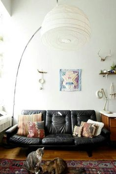 Leather boho living room