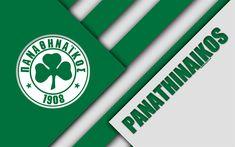 Download wallpapers Panathinaikos FC, Athens, 4k, green white abstraction, logo, material design, Greek football club, Super League, Greece, Superleague Greece