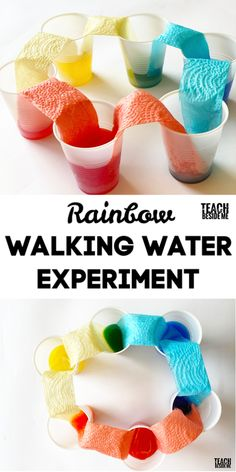 Have you ever tried the rainbow walking water experiment? It's an awesome one for kids! This is the perfect activity for a lesson on absorption. Science Experiments For Preschoolers, Cool Science Experiments, Preschool Science, Science For Kids, Science Projects, Science Penguin, Summer Science, Science Jokes, Easy Science