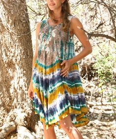 This Green & Beige Tie-Dye Embroidered Sleeveless Dress by Ananda's Collection is perfect! #zulilyfinds