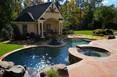 Small cottage with large porch.houses pool equip., storage and bath house - Town and Country Pools