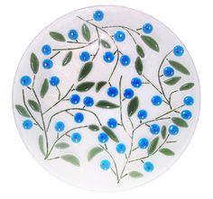 Blueberry Fused Art Glass Platter...