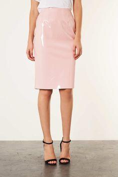 Pale Pink Vinyl Pencil Skirt - Skirts - Clothing - Topshop