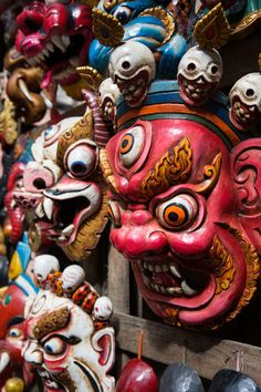 A photo tour through Kathmandu, Nepal. Kathmandu before the earthquake of Japanese Demon Mask, Nepal Art, Demon Art, Thai Art, Carnival Masks, Masks Art, Art Studies, Mask Design, Ancient Art