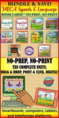 This is a NO PREP, NO PRINT MEGA BOOM CARD BUNDLE that includes TEN complete BOOM CARD digital interactive speech and language units to address articulation, receptive and expressive language. It includes OVER 480 cards and is fully interactive. #boomcards #speechtherapy #articulation #auditorydiscrimination #literacy #receptivelanguage #formulatingsentences #sequencing #storyretell #vocabulary #followingdirections #grammar Receptive Language, Speech And Language, Language Arts, Teaching Resources, Classroom Resources, Special Needs Students, 3rd Grade Classroom, Interactive Learning, Speech Therapy Activities