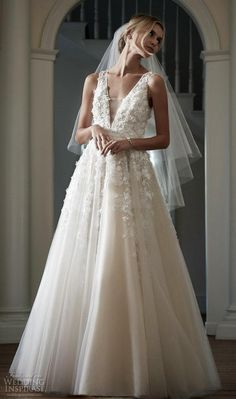 2016 Plunging V Neck Lace Bridal Gowns Bhldn 3d Floral Appliques Pearls Beaded Sheer Straps A Line Ball Gown Floor Length Wedding Dresses Wedding Dress Online Wedding Dress Patterns From Bestdavid, $190.96| Dhgate.Com