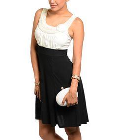 Ivory & Black Rosette Empire-Waist Dress - Women #zulily #zulilyfinds