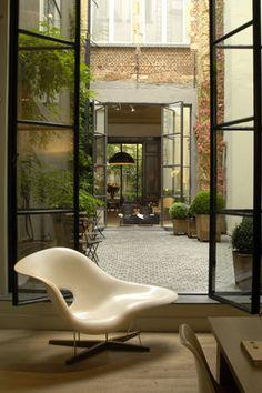 courtyard- windows, stone, bricks