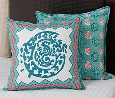 Aqua Green Block Printed Cushion Cover Set