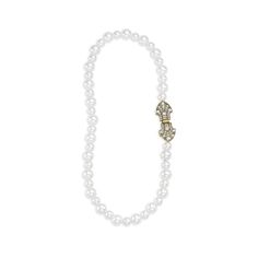 """Heirloom Pearl Deco Necklace - $38 Cream pearl...Clear crystal...17"""" long...Box clasp closure...Antique brass-plated"""