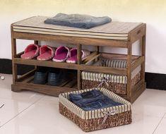 Sapateira de madeira com dois cesta de armazenamento Paulownia banco de madeira…