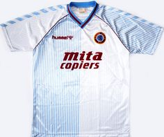 Aston Villa Away - my first ever replica shirt. Size M; I haven't worn it for a while. Classic Football Shirts, Vintage Football Shirts, Football Tops, Retro Football, Football Uniforms, Aston Villa Kit, Camisa Retro, Super Club, Soccer
