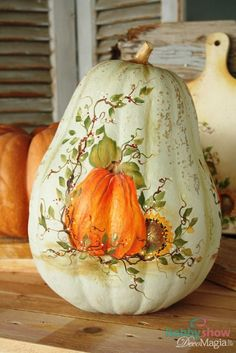 A different halloween pumpkin with easy painting! Fall Pumpkins, Halloween Pumpkins, Fall Halloween, Autumn Decorating, Pumpkin Decorating, Pumpkin Art, Pumpkin Carving, Pumpkin Faces, Pumpkin Vine