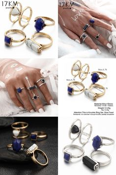 [Visit to Buy] 17KM Vintage 4 PCS Ring Set Punk Silver Color Stone Rings For Women/Men Bead Finger Gold Color Ring 2016 Bohemian Midi Ring Set #Advertisement