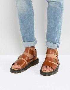 b156616fa437 Dr. Martens Gryphon Analine Sandals In Oak Soft Suede
