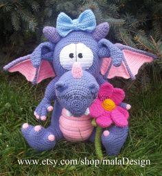 Pet dragon, crochet pattern by mala designs