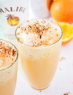 Tropical Malibu Sherbert Floats with Toasted Coconut and Orange Juice #ad