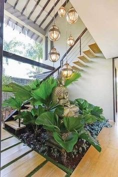52 perfect indoor garden design ideas for fresh houses 36 « Home Decoration House Design, Fresh House, Door Design, Staircase Design, Garden Ideas Inside The House, Bungalow House Design, Plant Office Design, Home Stairs Design, Interior Garden