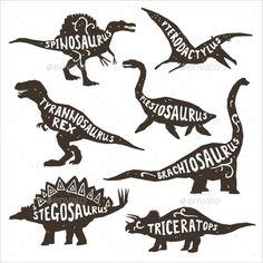 Draw Dinosaurs Dinosaurs black silhouettes set with lettering pterodactyl plesiosaur spinosaurus tyrannosaurus triceratops on white background isolated vector illustration - Fête Jurassic Park, Jurassic World Poster, Spinosaurus, Dinosaur Art, Dinosaur Birthday, Dinosaur Stencil, Dinosaur Drawing, Dinosaur Display, Dinosaur Template
