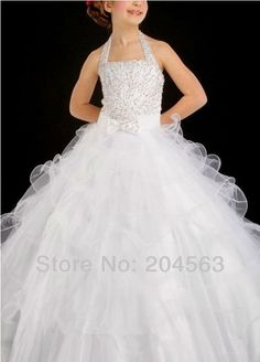 Aliexpress.com : Buy Free Shipping Halter Beaded Flower Girl Dress Lovely Party Dress for Kids Custom size/color from Reliable flower girl dress suppliers on Angel's store