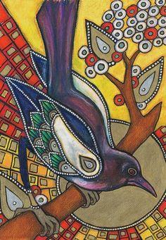 Art Nouveau Magpie Raven Bird Animal Giclee Print By Lynnette Shelley