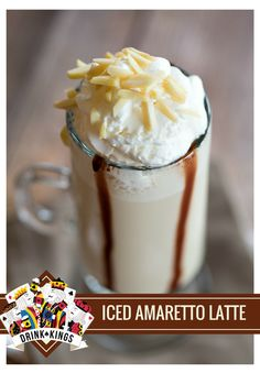 ICED AMARETTO LATTE - amaretto, chilled espresso, milk, whipped cream, slivered almonds and chocolate syrup! Cocktail Desserts, Cocktail Recipes, Drink Recipes, Fun Cocktails, Yummy Drinks, Delicious Desserts, Refreshing Drinks, Amaretto Drinks, Flax Seed Pancakes