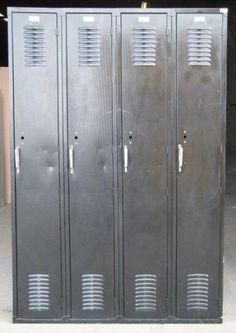 Vintage Black Storage Lockers by DustysRustyLockers on Etsy https://www.etsy.com/listing/192699183/vintage-black-storage-lockers