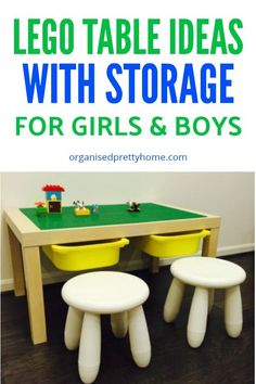 Check out these 15 plus LEGO table ideas. So simple to make a homemade DIY LEGO play table yourself. with storage Lego Play Table, Lego Table With Storage, Lego Storage, Storage Shelves, Diy Furniture Cheap, Kids Furniture, Lego For Kids, Diy For Kids, Ikea Lack Hack