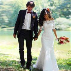 Mermaid Lace Wedding Dresses,Elegant Bateau Wedding Dresses,Half Sleeves