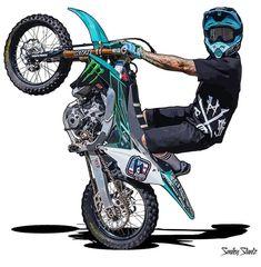 51 Motorcycle Illustration Drawing Ideas - New Moto Enduro, Enduro Motocross, Dirt Bike Tattoo, Bike Tattoos, Motorcycle Art, Bike Art, Bike Drawing, Japon Illustration, Graffiti Wallpaper
