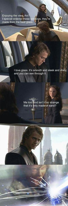 Anakin's scream shatters the glass, proving that, like sand, it also gets everywhere. (Star Wars, Natalie Portman, Padmé Amidala, and Hayden Christensen, Anakin Skywalker)