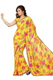 Flower Print Work Beautiful Yellow Color Amazing Designer Saree
