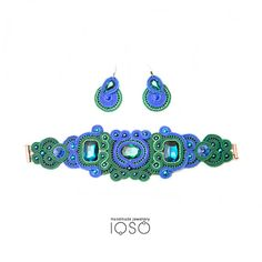 SK7/16 Soutache set cobalt/green made to order by IOSO on Etsy