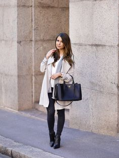 Light trench + Jeans + Ankle boots