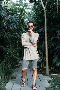 Get this look: http://lb.nu/look/8570639  More looks by Arttu Mustonen: http://lb.nu/mustarttu  Items in this look:  Ray Ban Shades, Asos Shirt, Asos Shorts, All Saints Sandals   #bohemian #casual #minimal #menstyle #outfit #menswear #summer