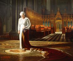 Portrait of The Queen, standing on the spot in Westminster Abbey where she was crowned.