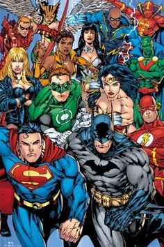 """Justice League Of America - DC Comics Poster (The Heroes - Superman, Batman, Green Lantern, Wonder Woman, Flash and more super heros) (Size: 24"""" x 36"""") Posterstoponline"""