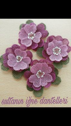 This Pin was discovered by Nis Lace Flowers, Crochet Flowers, Crochet Borders, Crochet Patterns, Hand Embroidery Stitches, Needle Lace, Irish Lace, Garden Ornaments, Crochet Doilies